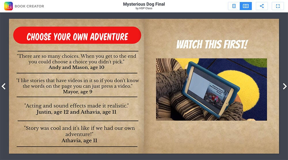 Book Creator for Creating Choose Your Own Adventure Books