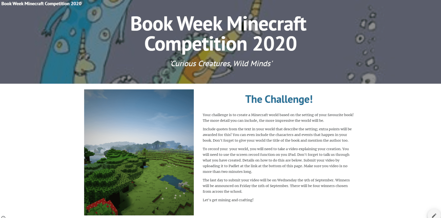 Book Week Minecraft Competition 2020